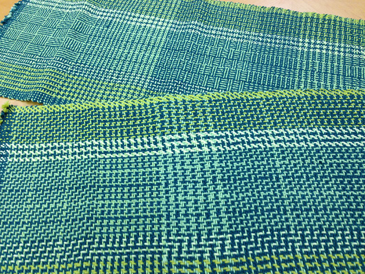 Completed color-and-weave samplers