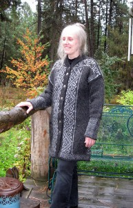 Lori wearing her handknit coat