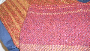 "Kristie's shawls woven using Rowan Tweed ""knitting"" yarn"