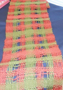 Marsha's spaced warp and weft runner woven with Jason Collingwood rug yarn